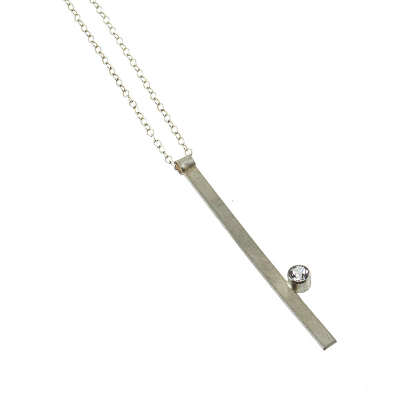 Sterling silver bar necklace with a gemstone by eko jewelry design, Valor