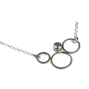 Sterling silver circle necklace with gemstone by eko jewelry design, Amity