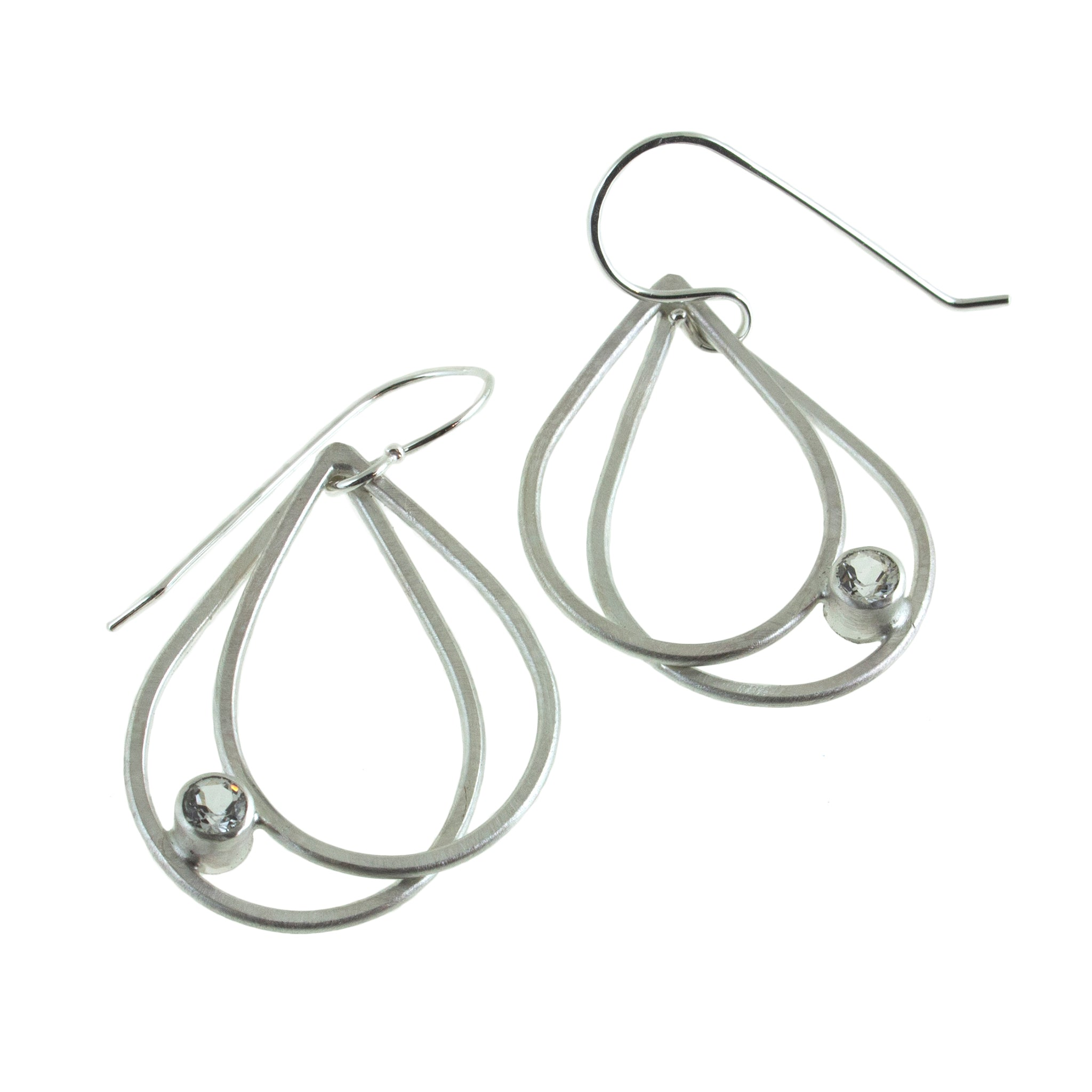 Sterling silver double teardrop earrings with gemstones by eko jewelry design, Germella