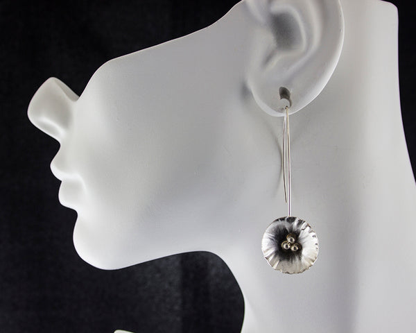 sterling silver flower threader earrings by eko jewelry design, Allysa on model