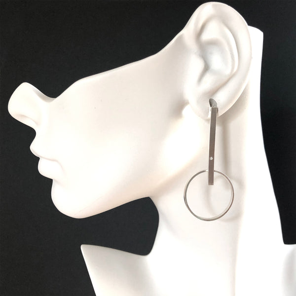 Silver hoop bar earrings with gemstones by eko jewelry design, Charity on model
