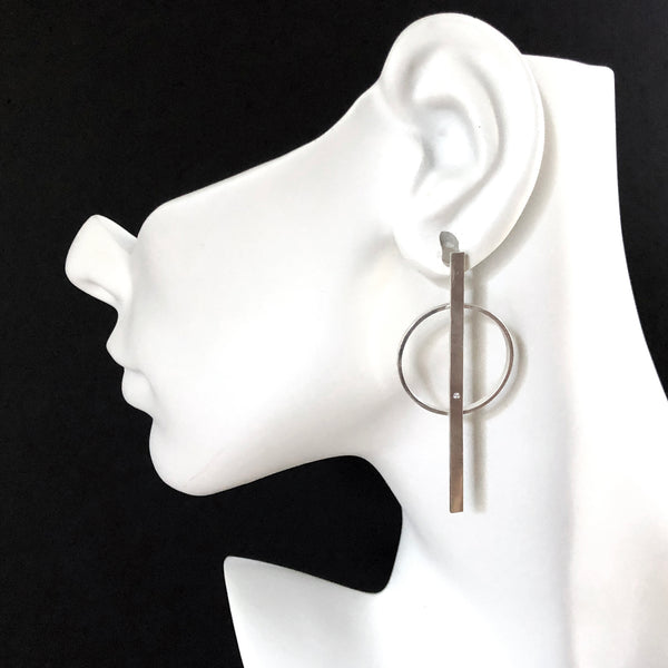 Sterling silver hoop bar earrings with gemstones by eko jewelry design, Soraya on model