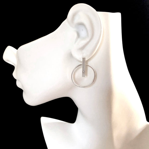 Sterling silver hoop bar earrings with gemstones by eko jewelry designs, Clem on model