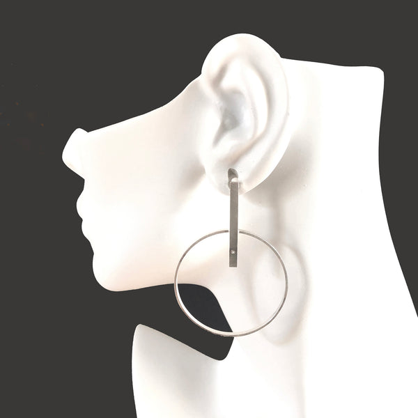 Large silver hoop bar earrings with gemstones by eko jewelry design, Hope on model