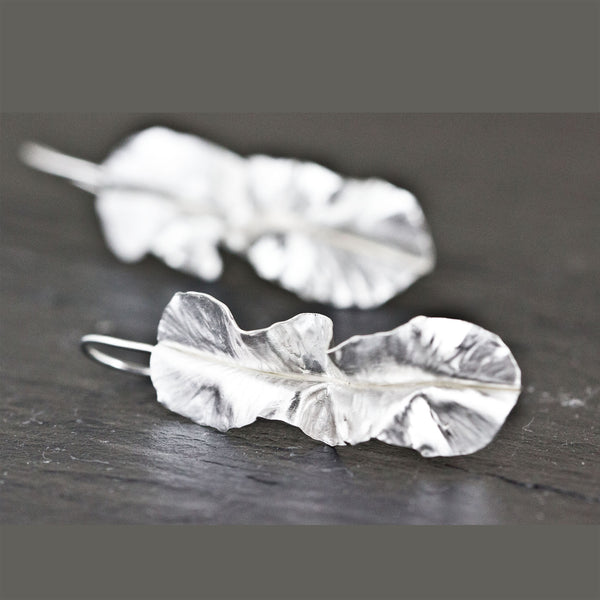 Modern rustic sterling silver leaf earrings by eko jewelry design, Kiona