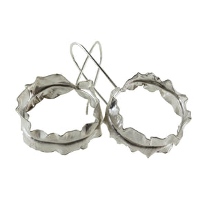 Sterling silver leaf hoop earrings by eko jewelry design, Valeria