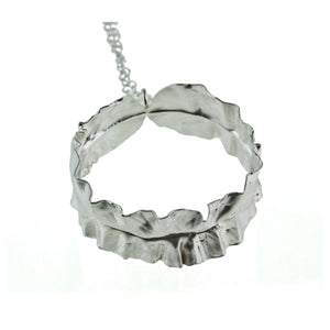Sterling silver leaf hoop necklace by eko jewelry design, Silvina