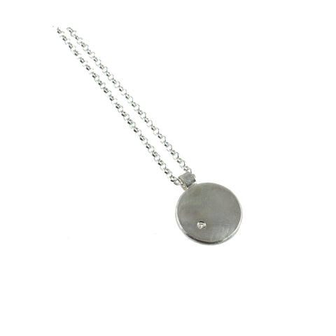 Sterling silver round necklace with gemstone by eko jewelry design, Thuraya