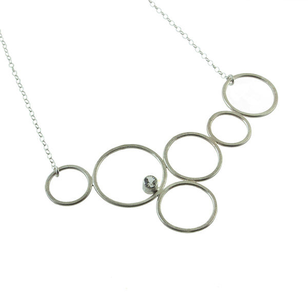 Malina bubble circle necklace in sterling silver with gemstone