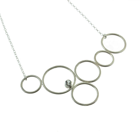 Sterling silver bubble circle necklace with gemstone by eko jewelry design, Malina