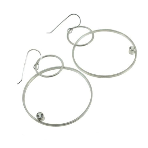 Large sterling silver hoop earrings with gemstones by eko jewelry design