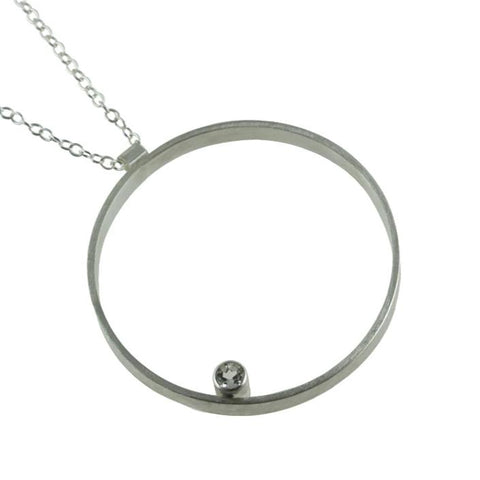 large hoop necklace in sterling silver with gemstone by eko jewelry design