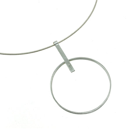 Large sterling silver hoop necklace with gemstone by eko jewelry design, Faitha