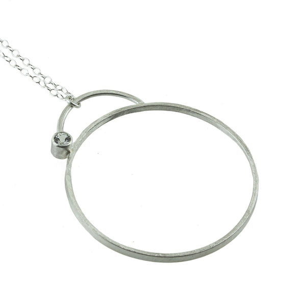 large sterling silver hoop necklace with gemstone by eko jewelry design, Zona