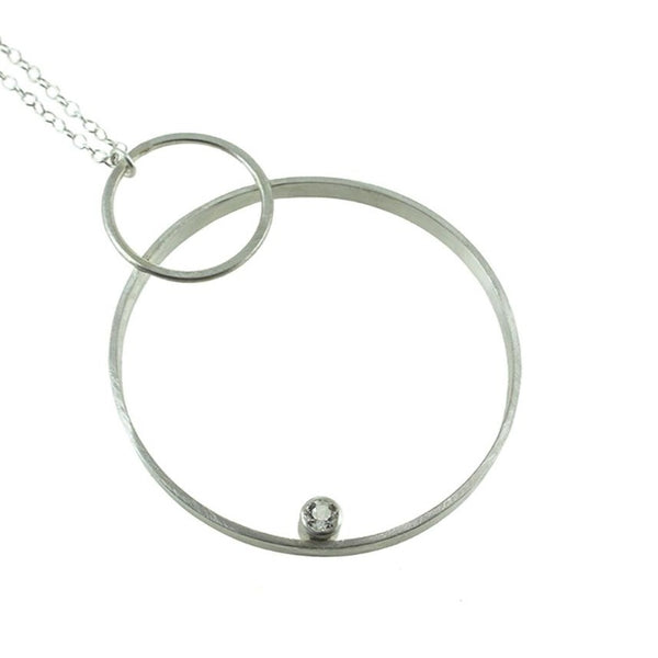 large hoop necklace in sterling silver with gemstone by eko jewelry design, Juno