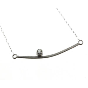 silver bar necklace with gemstone by eko jewelry design, Finley