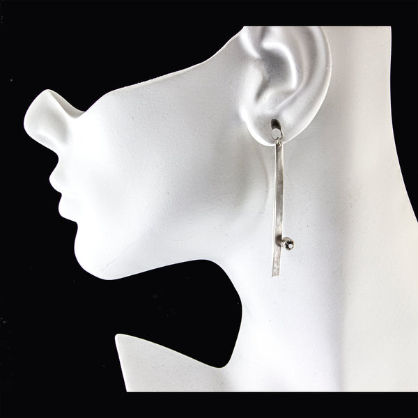 Long silver bar threader earrings with gemstones by eko jewelry design, Carter on model