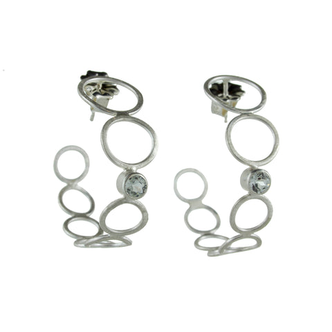 silver bubble hoop earrings with gemstones by eko jewelry design, Allumina