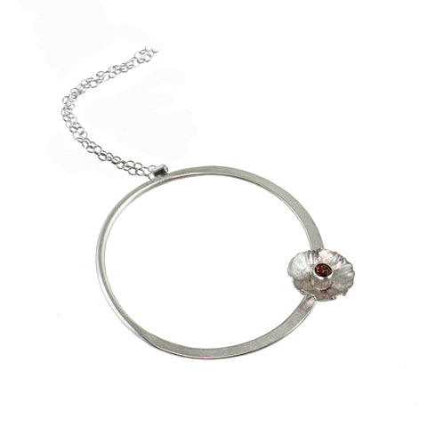 Silver flower hoop necklace with garnet by eko jewelry design, Cleanthe
