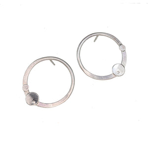 Sterling silver hoop stud earrings with gemstones by eko jewelry design, Leda