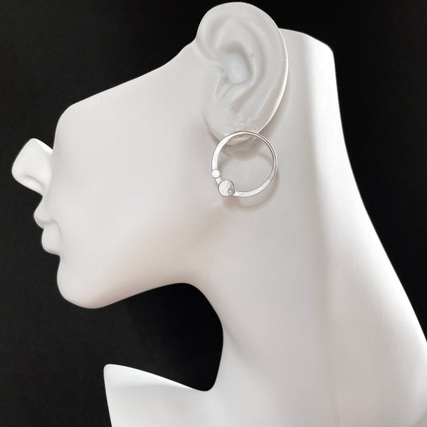 Sterling silver hoop stud earrings with gemstones by eko jewelry design, Leda on model