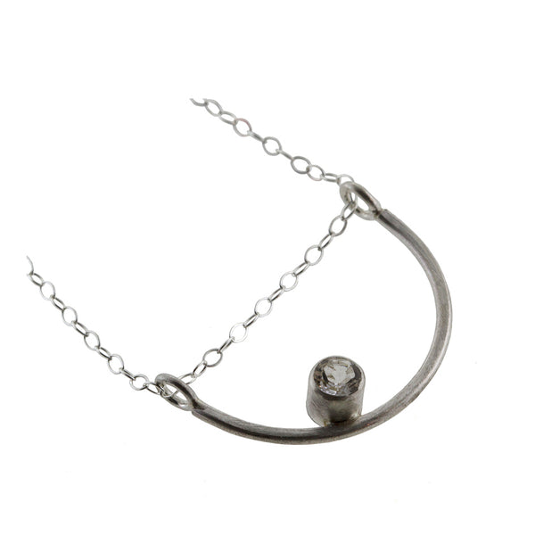 Luna moon necklace in sterling silver with gemstone by eko jewelry design