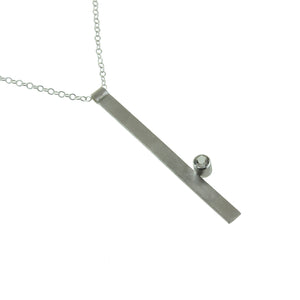 Long sterling silver bar necklace with a gemstone by eko jewelry design, Verdie