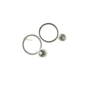 small sterling silver circle stud earrings with gemstones by eko jewelry design