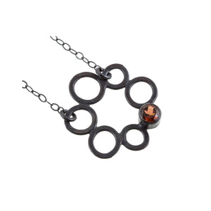 Sterling silver circle necklace with garnet by eko jewelry design, Calista