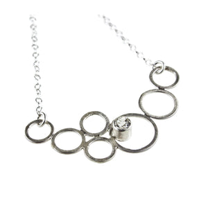 sterling silver circle necklace with a gemstone by eko jewelry design, Destina