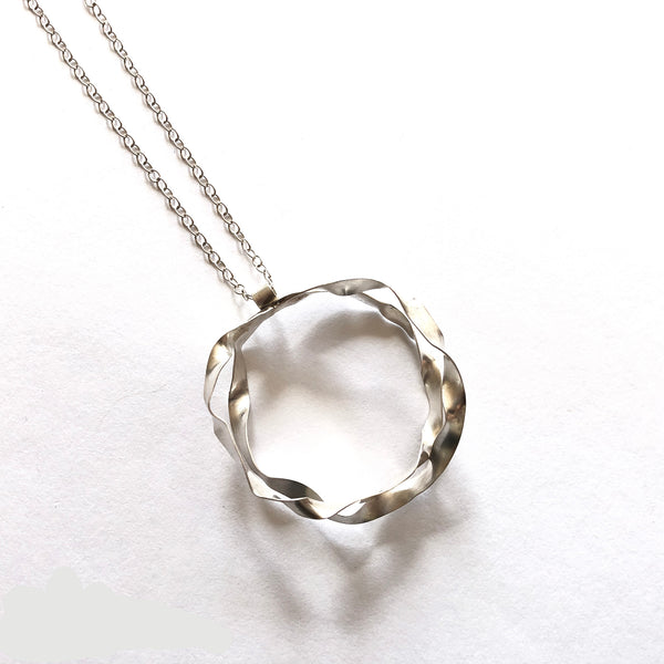 Sterling silver double hoop necklace by eko jewelry design, Cyanea