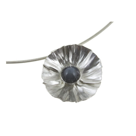 Sterling silver flower necklace with moonstone by eko jewelry design, Fiorella