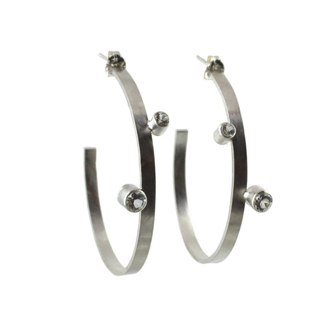 sterling silver large hoop stud earrings with gemstones by eko jewelry design, Desiree