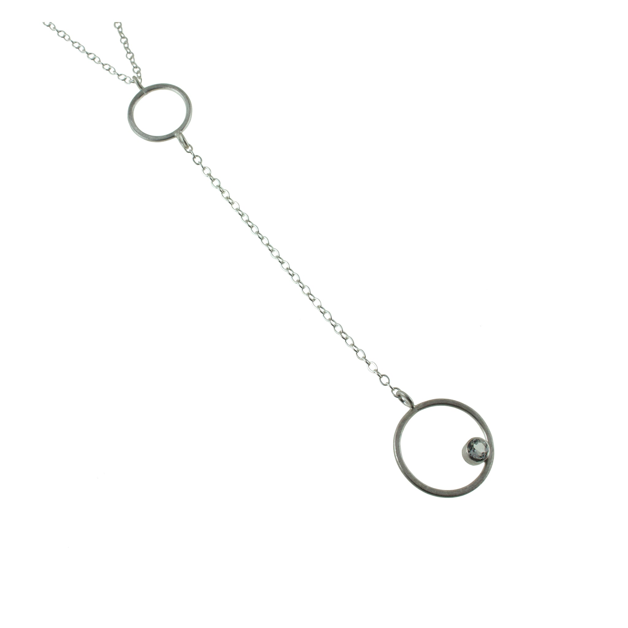 Sterling silver lariat necklace with gemstone by eko jewelry design, Bijou