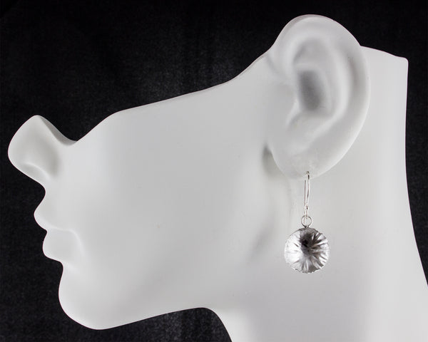 sterling silver round leaf earrings by eko jewelry design, Deanna on model