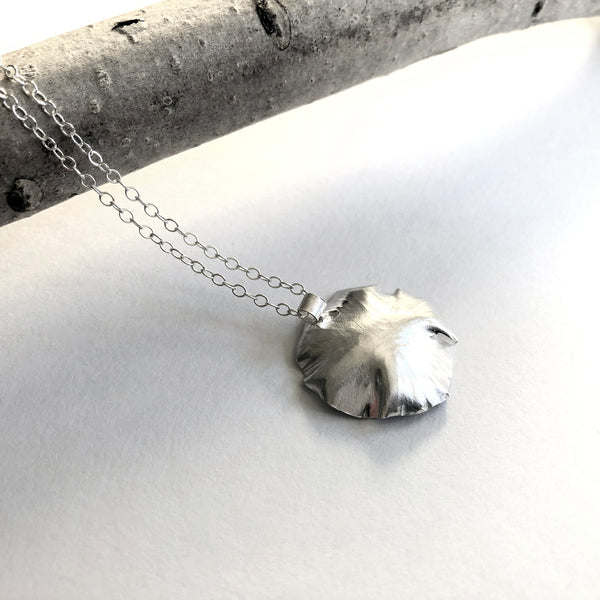 sterling silver leaf necklace by eko jewelry design, Arden back
