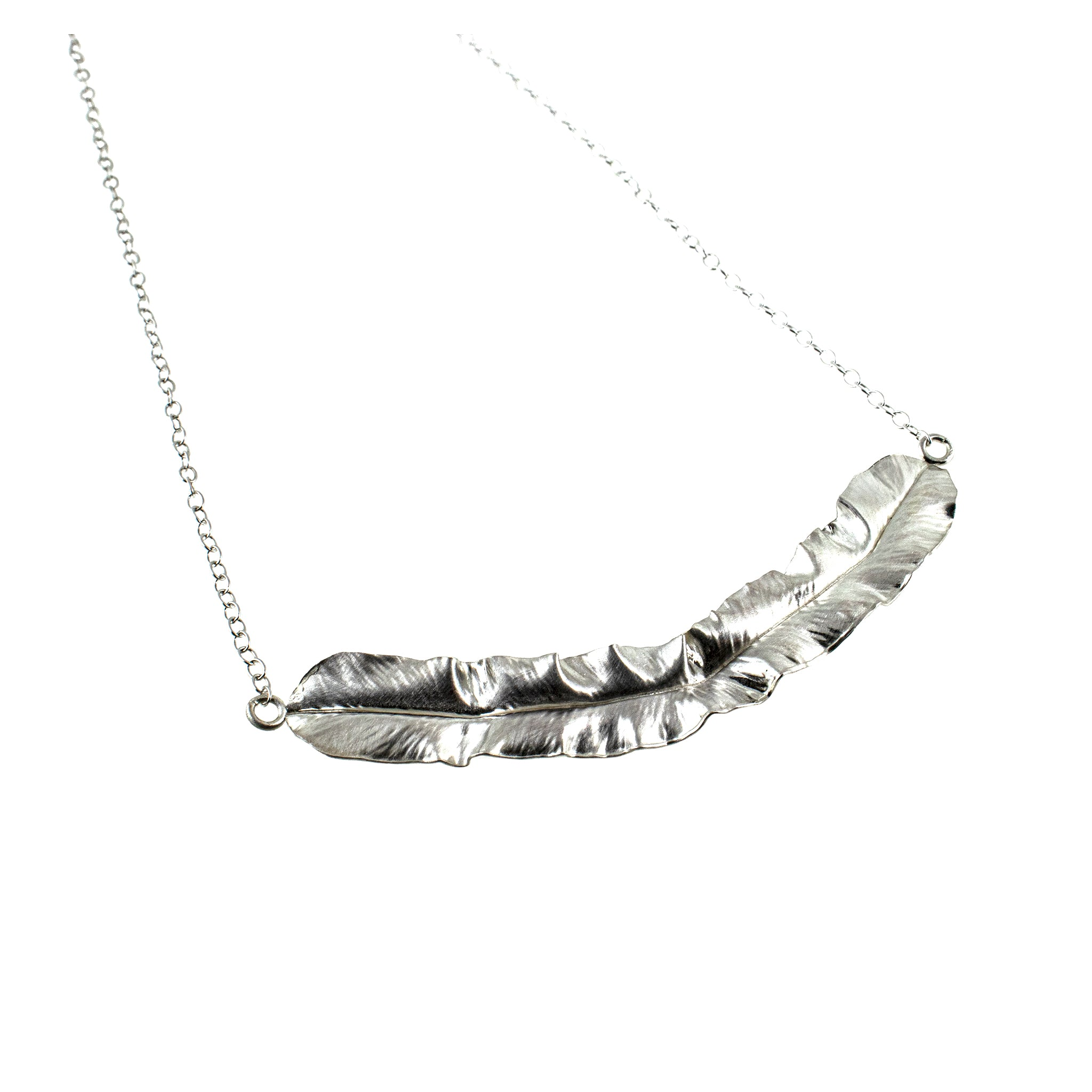 Sterling silver leaf necklace by eko jewelry design, Pamona