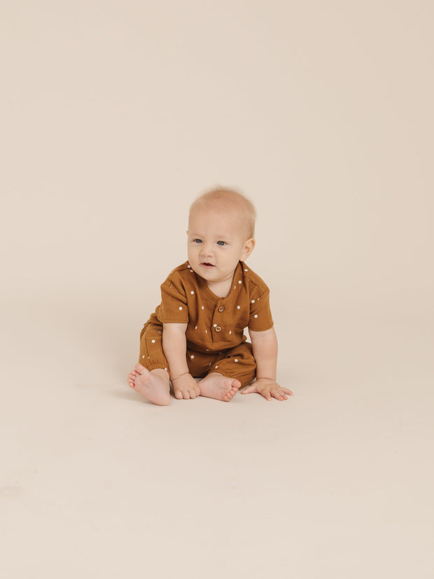 Quincy Mae Woven Henry Top - Walnut