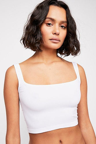 Scoop Neck Crop in White - WildLittleFawns