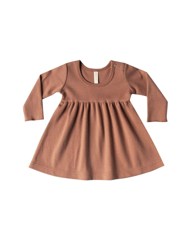 Quincy Mae Longsleeve Baby Dress - Clay
