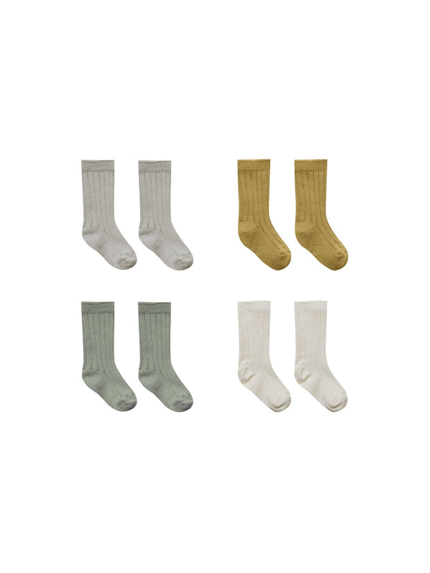 Baby Socks in Fog, Ocre, Natural, Moss Quincy Mae