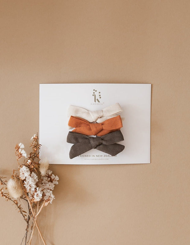 Linen Bow Clip Set 3pc Pac