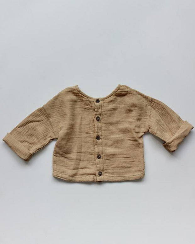 The Button Back Top Camel The Simple Folk