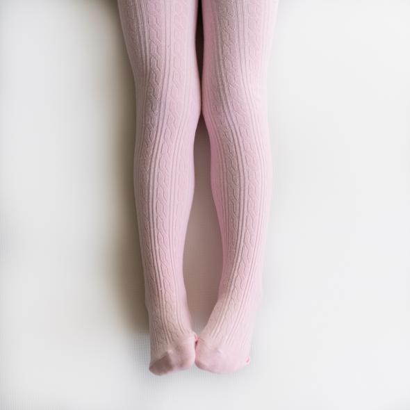 Little Stocking Light Pink Cable Knit Tights - WildLittleFawns