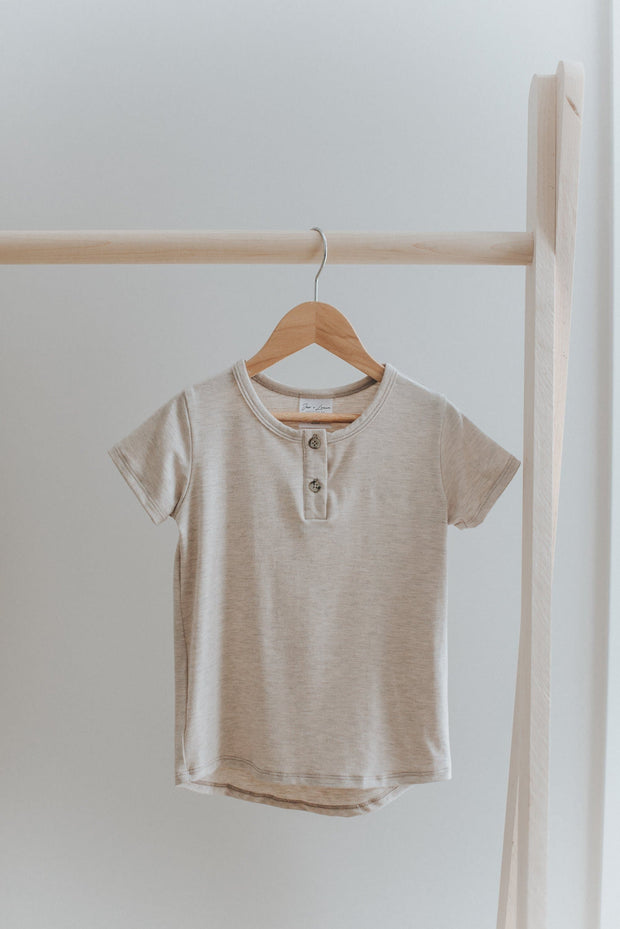 Henley Tee in Oatmeal Jax and Lennon