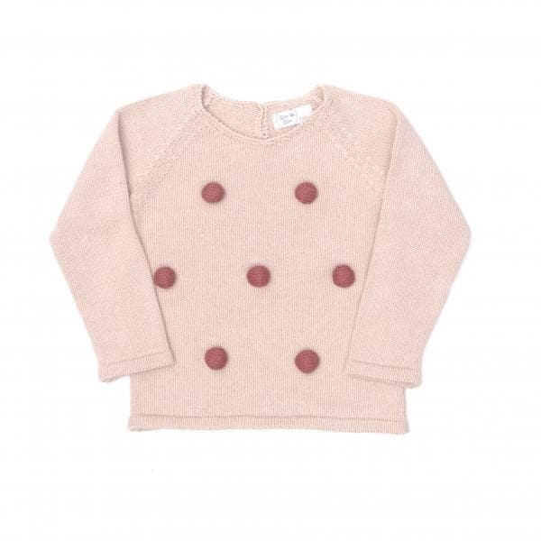 Tun Tun Knitted PomPom Sweater- Pink