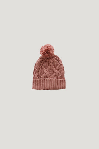Cable Knit Hat - Rose - WildLittleFawns