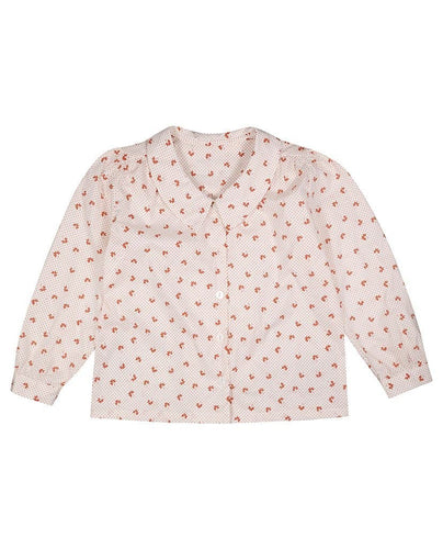 Edith Collared Blouse - Petal Floral in Rust - WildLittleFawns