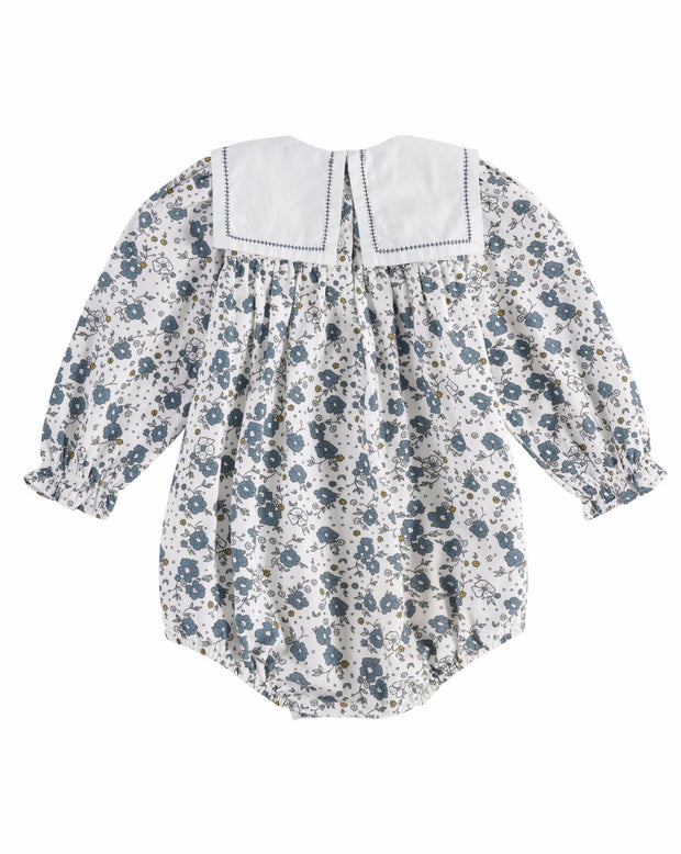 Meave Sailor Collar Watercolor Floral Blue - Little Cotton Clothes