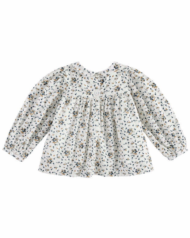 Josephine Blouse  Floral- Blue/Brown/White